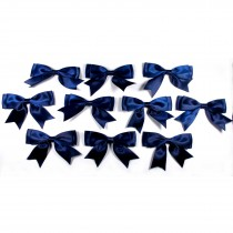 Large Satin Ribbon Double Bows 8cm wide Dark Blue Pack of 10