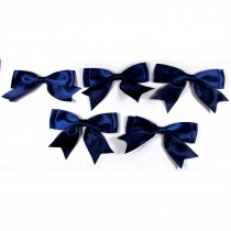 Large Satin Ribbon Double Bows 8cm wide Dark Blue Pack of 5