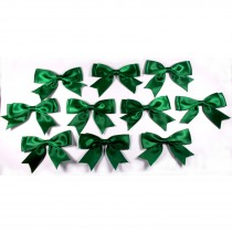 Large Satin Ribbon Double Bows 8cm wide Green Pack of 10