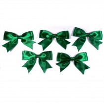 Large Satin Ribbon Double Bows 8cm wide Green Pack of 5