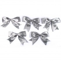 Large Satin Ribbon Double Bows 8cm wide Grey Pack of 5