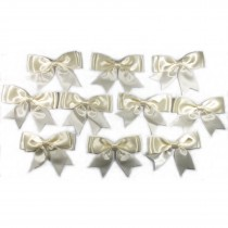 Large Satin Ribbon Double Bows 8cm wide Ivory Pack of 10