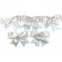 Large Satin Ribbon Double Bows 8cm wide Ivory Pack of 5