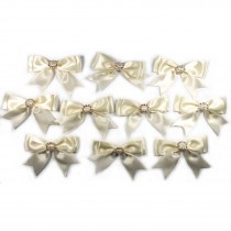 Large Satin Ribbon Double Bows 8cm wide Diamante Circle Ivory Pack of 10