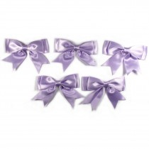 Large Satin Ribbon Double Bows 8cm wide Lilac Pack of 5