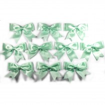 Large Satin Ribbon Double Bows 8cm wide Mint Green Pack of 10