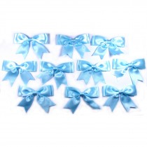 Large Satin Ribbon Double Bows 8cm wide Pale Blue Pack of 10