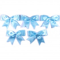 Large Satin Ribbon Double Bows 8cm wide Pale Blue Pack of 5