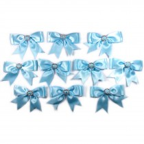 Large Satin Ribbon Double Bows 8cm wide Diamante Circle Pale Blue Pack of 10
