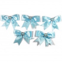 Large Satin Ribbon Double Bows 8cm wide Diamante Circle Pale Blue Pack of 5