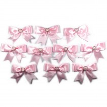 Large Satin Ribbon Double Bows 8cm wide Diamante Circle Pale Pink Pack of 10