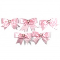 Large Satin Ribbon Double Bows 8cm wide Diamante Circle Pale Pink Pack of 5