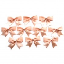 Large Satin Ribbon Double Bows 8cm wide Peach Pack of 10