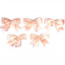 Large Satin Ribbon Double Bows 8cm wide Peach Pack of 5