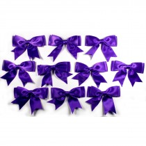 Large Satin Ribbon Double Bows 8cm wide Purple Pack of 10