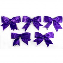 Large Satin Ribbon Double Bows 8cm wide Purple Pack of 5