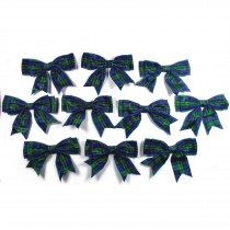 Large Satin Ribbon Double Bows 8cm wide Tartan Blue Pack of 10