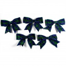 Large Satin Ribbon Double Bows 8cm wide Tartan Blue Pack of 5
