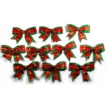Large Satin Ribbon Double Bows 8cm wide Tartan Green Pack of 10