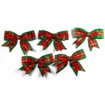 Large Satin Ribbon Double Bows 8cm wide Tartan Green Pack of 5