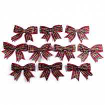 Large Satin Ribbon Double Bows 8cm wide Tartan Red Pack of 10