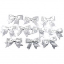 Large Satin Ribbon Double Bows 8cm wide White Pack of 10