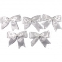 Large Satin Ribbon Double Bows 8cm wide White Pack of 5
