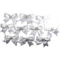 Large Satin Ribbon Double Bows 8cm wide Diamante Circle White Pack of 10