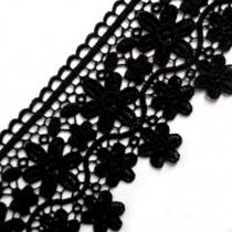 Large Flower Daisy Guipure Lace 9cm wide Black 1 metre length