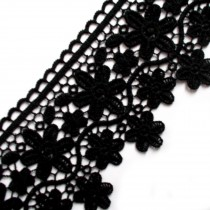 Large Flower Daisy Guipure Lace 9cm wide Black 3 metre length