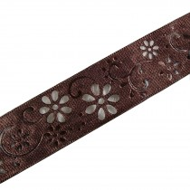 Laser Cut Out Daisy Flower Ribbon 25mm wide Brown 16 metres length