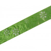 Laser Cut Out Daisy Flower Ribbon 12mm wide Green 9 metres length