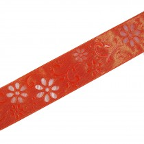 Laser Cut Out Daisy Flower Ribbon 12mm wide Orange 9 metres length