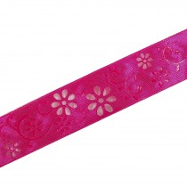 Laser Cut Out Daisy Flower Ribbon 25mm wide Pink 7.9 metres length