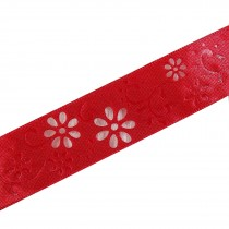 Laser Cut Out Daisy Flower Ribbon 12mm wide Red 14 metres length