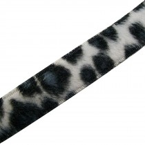 Leopard Animal Print Fur Ribbon 15mm wide Black and White 2 metre length