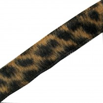 Leopard Animal Print Fur Ribbon 15mm wide Dark Natural 2 metre length