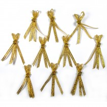 Lurex Ribbon Bows 4 Strand with Beads 5cm wide Gold Pack of 10