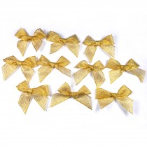 Lurex Ribbon Bows Large 5.5cm wide Gold Pack of 10