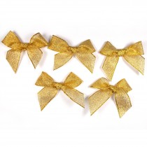 Lurex Ribbon Bows Large 5.5cm wide Gold Pack of 5