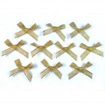 Lurex Ribbon Bows Medium 3.5cm wide Gold Pack of 10