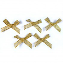 Lurex Ribbon Bows Medium 3.5cm wide Gold Pack of 5