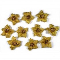 Lurex Ribbon Bows Poinsettia with Beads 3cm wide Gold Pack of 10