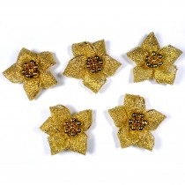 Lurex Ribbon Bows Poinsettia with Beads 3cm wide Gold Pack of 5