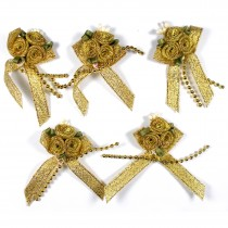 Lurex Ribbon Bows Posy with Beads 5.5cm wide Gold Pack of 5