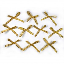 Lurex Ribbon Bows Small 3cm wide Gold Pack of 10
