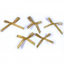 Lurex Ribbon Bows Small 3cm wide Gold Pack of 5