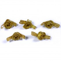 Lurex Ribbon Bows Small Rosebud 2cm wide Gold Pack of 5
