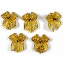 Lurex Ribbon Bows with Bead 2cm wide Gold Pack of 5