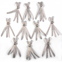 Lurex Ribbon Bows 4 Strand with Beads 5cm wide Silver Pack of 10